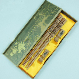 Wholesale Quality Wooden Chopsticks - Wooden Carved Chopsticks Gift Set Chinese High quality with boxes 5sets pack (2pairs=sets) mix Free
