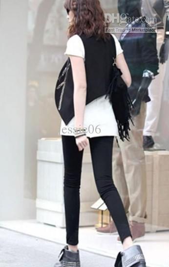 Frauen-reizvolle lederne Hosen-vordere Kunstleder-rückseitige Baumwollnaht Legging-dünne dünne Hosen gif