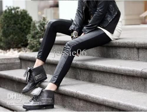 Woman Sexy Leather Pants Front Imitation Leather Back Cotton Stitching Legging Slim Skinny pants gif