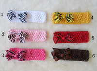 Wholesale Zebra Headband Bow - 50pcs lot Infant Zebra Bow Hair Bows crochet headbands baby Hairband ribbon kids Accessories