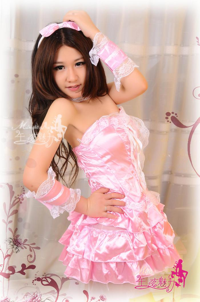 ! Hot New Uniform Dress Pink Satin Lingerie Party Clothes ...