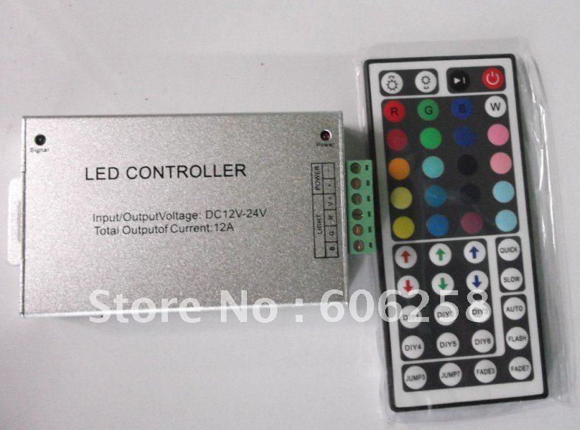 44Key 12V共通陽極カラフルなRGBリモートコントローラ、アルミニウムRGB LEDストリップコントローラポスト
