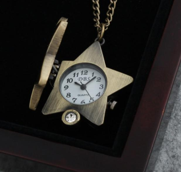 Woman Lucky Star Pocket Watch Pendant Necklace Vintage Bronze Charm Necklace Diamond Watches charm Jewelry drop shipping
