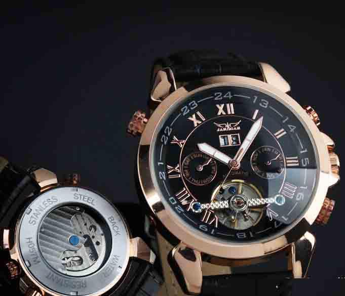 Jaragar Men Mechanical Tourbillionレザーウォッチスポーツダイブステンレスメンズゴールドの腕時計