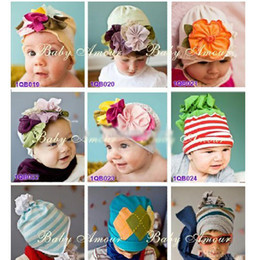 Wholesale Girl Flower Crochet Top - NEW TOP Baby Beanie beanies hats girls' hats boys caps crochet headbands baby amour flower girl hats