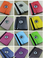 Wholesale Ipad2 Red - 360 Degree Rotary Litchi leather Case Stand Holder for new ipad3 ipad2