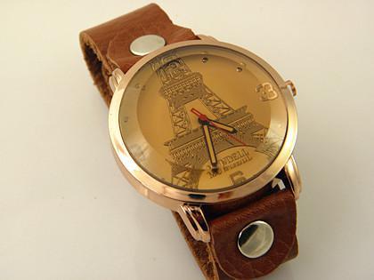 빈티지 에펠 탑 핸드 메이드 정품 가죽 스트랩 시계 패션 빅 다이얼 여성 쿼츠 Wrisrwatch 크리스마스 선물