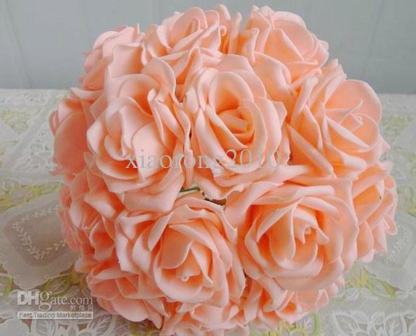 Color púrpura 100p Dia.7cm Simulación artificial PE espuma EVA Camellia Rose Flor de boda Flor nupcial Navidad