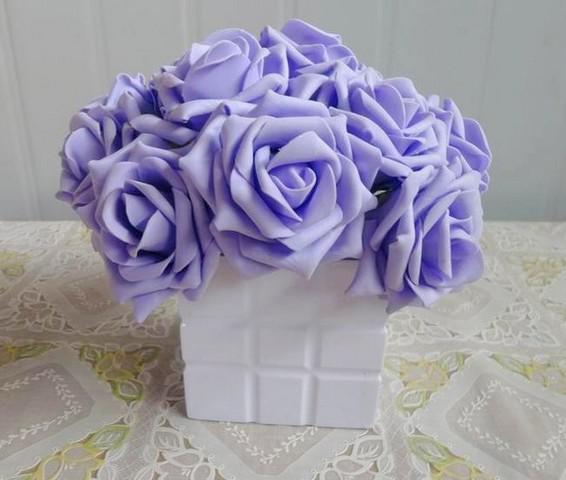 Lila Farbe 100 p Dia.7cm Künstliche Simulation PE Schaum EVA Kamelie Rose Hochzeit Weihnachten Braut Blume