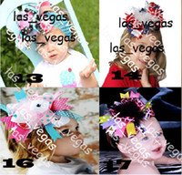 """Wholesale Large Feather Headbands - 2012 about 6"""" baby Large Boutique Hair Bows hair clips girls handmade with feather with headband"""