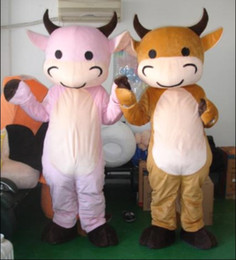 Wholesale Cow Costume Pink - wholesale adult plush pink and yellow baby cow mascot costumes for party