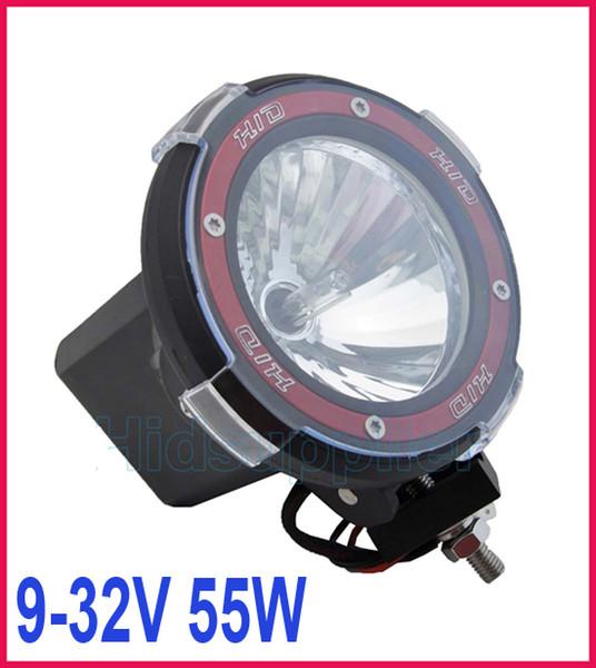 "2pcs 4"" 55W HID Xenon Driving Light Off-Road SUV ATV 4WD Headbulb Flood Beam Truck 9-32V 3200lm IP67"
