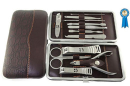 Wholesale Leather Grooming Case - 12 in 1 Luxury Manicure Set Stainless Steel Grooming Kit Nail Clipper with Leather Case Best Choice
