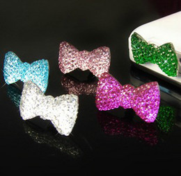 Wholesale Anti Dust Plug Butterfly - 50 Pieces Crystal Bowknot Butterfly Earphone Anti Dust Plug Dustproof Ear Cap for Apple iPhone 4 4S