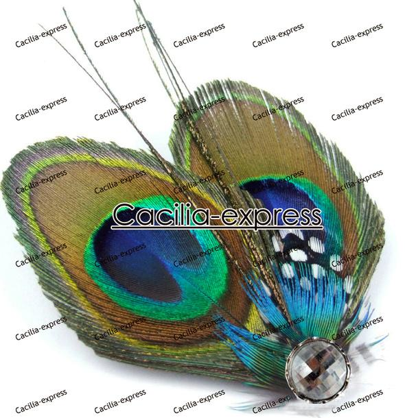 gorgeous Peacock Feather butterfly crystal spot hair fascinator