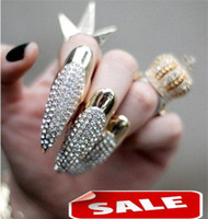 Wholesale Eagle Nail - Unique Ring Nail NIOR Diamond Succubus Crotch Eagle Long Nails Set Alloy Rings Fashion Jewelry