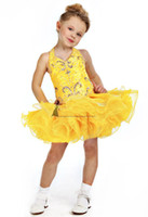Christmas Yellow Organza Halter Beads Flower Girl Dress Girl...