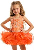 Christmas Orange Organza Halter Beads Flower Girl Dress Girl...