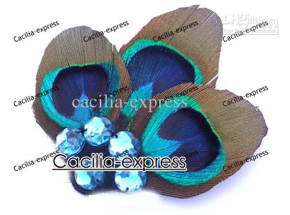 free shipping 3Peacock Feather Fascinator, Peacock feather Hair Clip, hair Fascinator 12pcs XO48