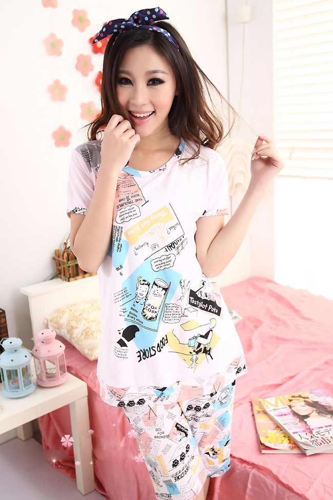 New Pink Cartoon Cute Women Short Sleeve Pajamas Nightwear Clothes Home  wear Suit  3474 8dd95537eb7f
