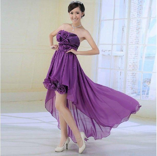 Purple Color Bridesmaids Short Design Korean Wedding Dress Evening Top Quality Xmas Gift Price