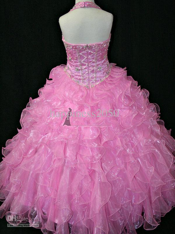 Weihnachten rosa Blumenmädchen Kleid Mädchen Rock Prinzessin Rock Pageant Kleid SZ 2 4 6 8 10 HF703030