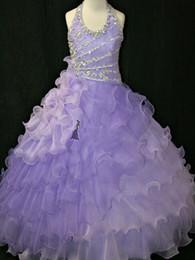 Wholesale Girls Pageant Organza Roses - Christmas Purple Rose White Halter Flower Girl Dress Girl's Skirt Princess Skirt Pageant Dress Custom Size 2 4 6 8 10 HF703031