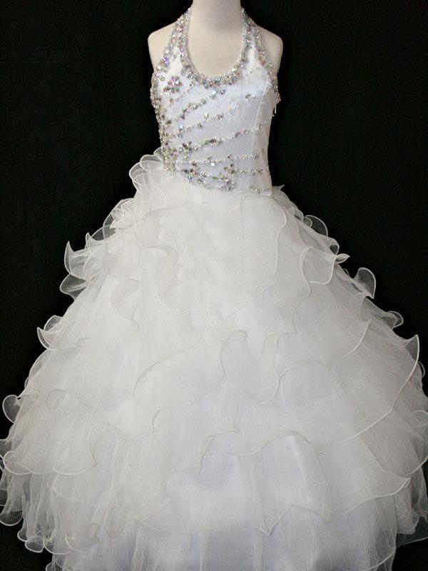 Jul Lila Rose Vit Halter Flower Girl Dress Girl's Skirt Princess Kjol Pageant Klänning Anpassad Storlek 2 4 6 8 10 HF703031