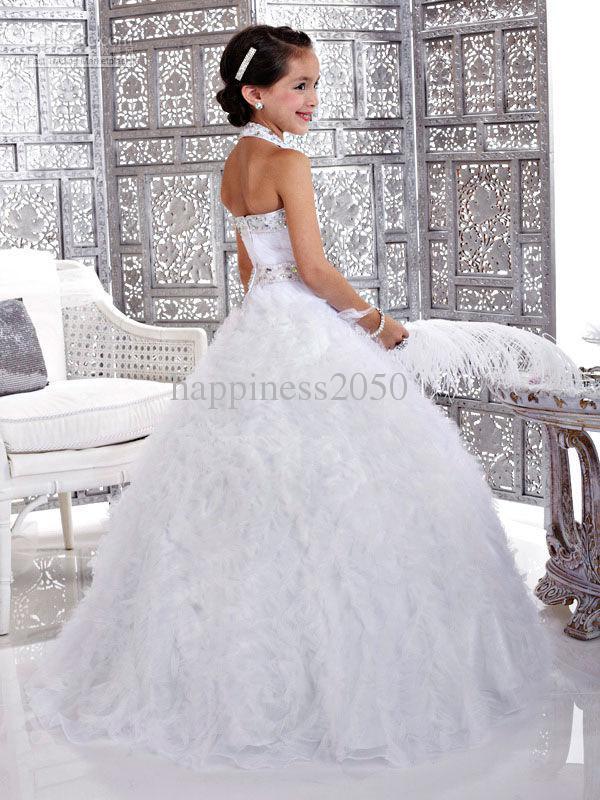 do Branca Flor de Natal da menina do vestido da menina saia princesa saia Pageant vestido personalizado Tamanho 2 4 6 8 10 12 HF703034