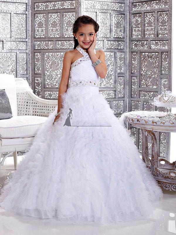 Christmas White Flower Girl Dress Girl's Skirt Princess Skirt Pageant Dress Custom Size 2 4 6 8 10 12 HF703034