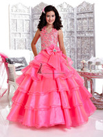 Wholesale Communion Dresses Size 14 - Christmas Water Melon Flower Girl Dresses Girl's Pageant Dresses Custom Size 2-14 H905003