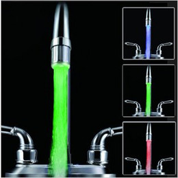 Wholesale Tap Water Stream - Water Stream Temperature Sensitive Controlled LED Faucet Tap Color Lights + Thread Adapter, Free