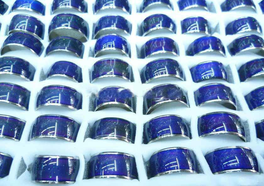 10 mm Stimmungsring ändert die Farbe Edelstahlring 3,2 g / St