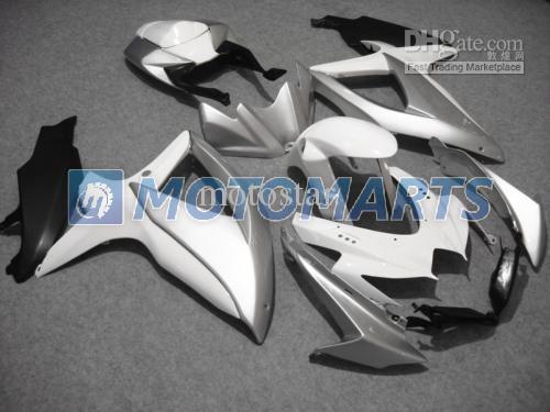 화이트 실버 for 스즈키 2008 2009 2010 GSXR 600 750 K8 GSXR600 08 09 10 gsxr750 페어링 키트