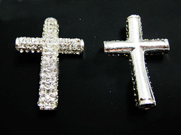 Wholesale Side Ways Metal Crosses - Silver Plated Curved Side Ways Crystal White Rhinestones Round Cross Bracelet Connector Charm Beads