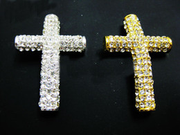 Wholesale Side Ways Cross Charms - Mixed Plated Curved Side Ways Crystal White Rhinestones Round Cross Bracelet Connector Charm Beads