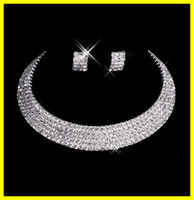 Wholesale Man Made Diamonds Necklace - Designer 2015 Sexy Men-Made Diamond Earrings Necklace Party Prom Formal Wedding Jewelry Set Bridal Accessories 15-035 Free Shipping In Stock