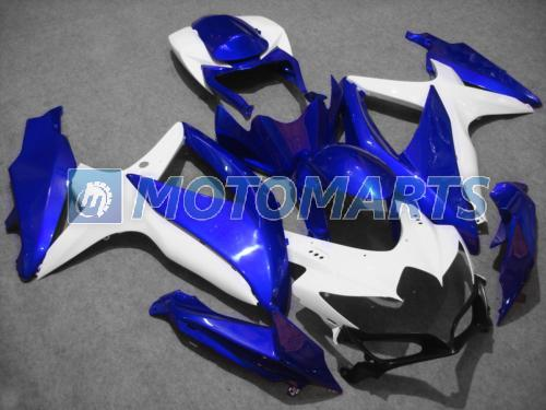 Blå Vit Fairings Fit för Suzuki 2008 2009 2010 GSXR 600 750 K8 K9 GSXR600 08 09 10 GSXR750 Fairing Kit