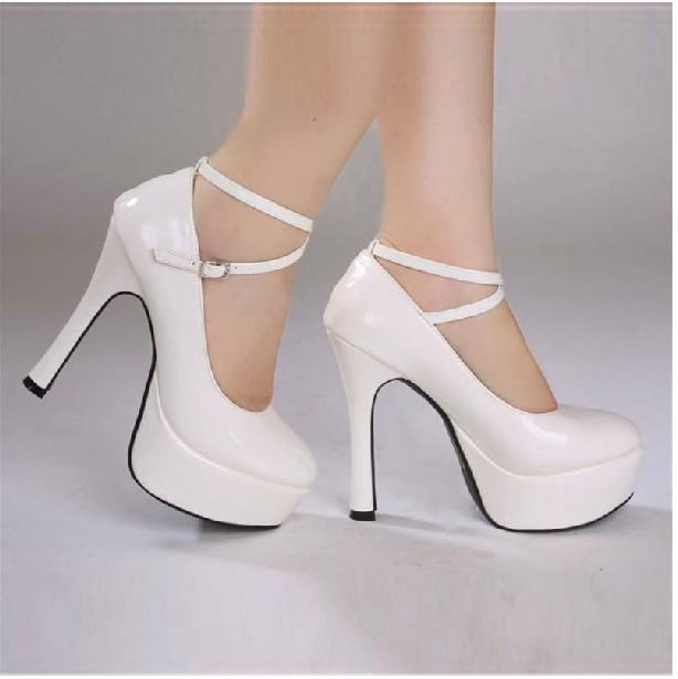 2012 New White Wedding Shoes High Heels Bride Shoes. 13cm Size:34 ...