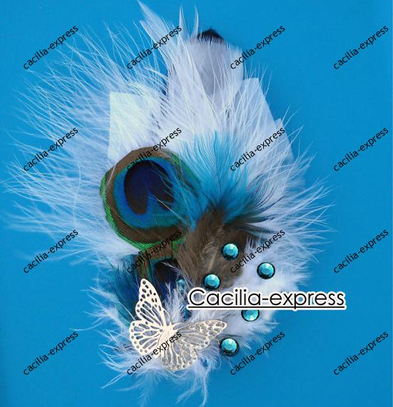 free shipping Peacock Feather Hair Clip White Feather Fascinator hair Fascinator 10pcs DFG985