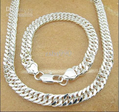 Hot Högkvalitativa Mäns Smyckesatser 925 Silver Chain Halsband, Armband Gratis Frakt /