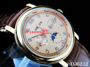 Wholesale Hot Sale automatic Complicated watch DJ6212 brown dial dive watch mans leather band wristwatches PP209