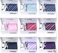 Wholesale Solid Yellow Tie Sets - 31 Colors Quality Neck Tie Set WeddingTies & Tie Clips & Cufflinks & Hanky & Gift Box 10 Sets lot