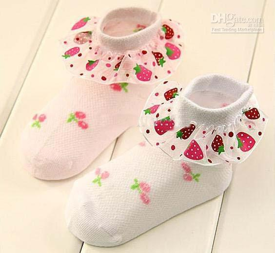Baby Girl Strawberry Lace Socks Girl Design Socks Kids Dress Socks ...