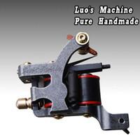 Wholesale Brand Machine Tattoo - New Brand Design Handmade Tattoo Machines Shader Gun 10 Wraps Coils For Ink Kit Needles Cast Iron LXQ-13