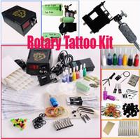 Wholesale Pro Tattoo Rotary Machine Kit - High Quality Rotary Tattoo Machine Gun Kits LED Power Supply 20 Needles 8 Steel Tips Pro ML001