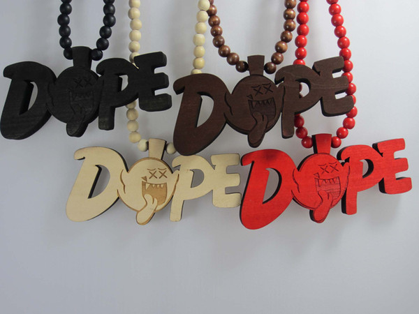 10pcs Hip-Hop Good Quality Wood Pendants Good Wood Rosary Bead Necklaces Mens jewelry Freeshipping