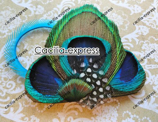 free shipping Peacock Feather Fascinator Clip Comb Headband, Wedding hair Fascinator 10pc F007