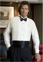 Long Sleeve black pleated front tuxedo - Cotton Custom Made Wedding Bridegroom Tuxedo Shirt with pleats in front breast