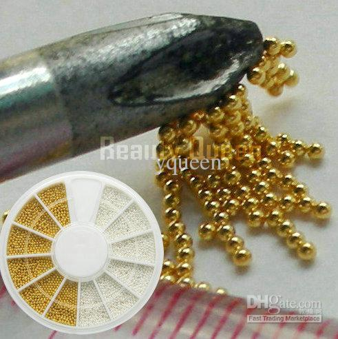 Gold Golden Silver Steel 1mm Bean Bead Tiny Mini Micro beads Ball Wheel  Nail Art 3D Tip Decoration